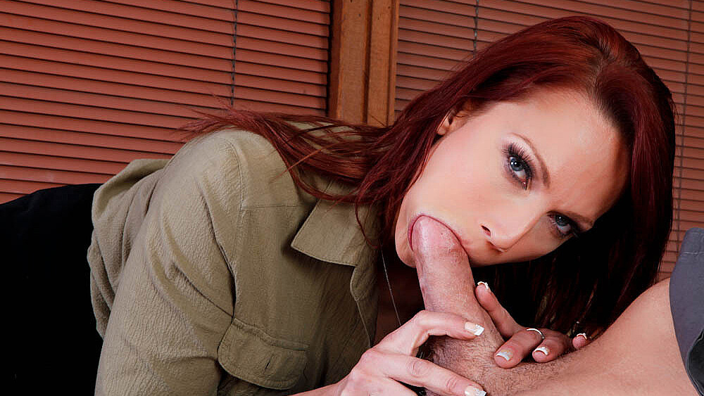 Red head Nicki Hunter fucking in the desk with her lingerie