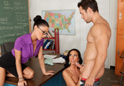 Jessica Jaymes & Tiffany Brookes & Johnny Castle in My First Sex Teacher story pic
