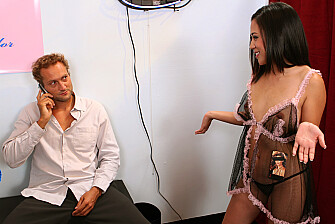 Kayme Kai fucking in the lingerie store with her petite - Sex Position 1