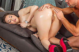Alexis Rodriguez fucking in the couch with her natural tits - Sex Position 1