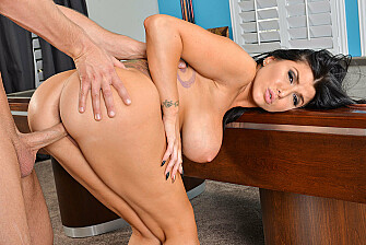 Romi Rain fucking in the pool table with her black hair - Blowjob
