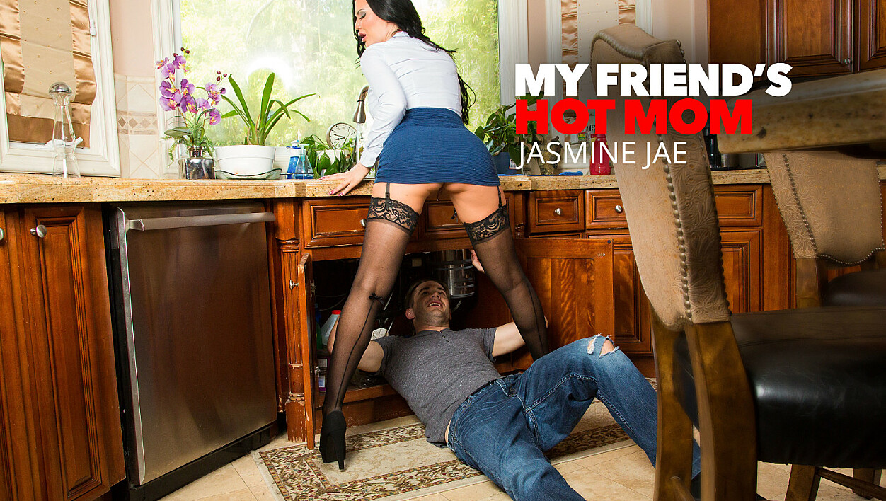 Jasmine Jae Fucks her son's friend in the kitchen