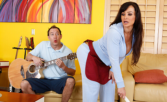 Lisa Ann fucking in the living room with her tits - Sex Position #1