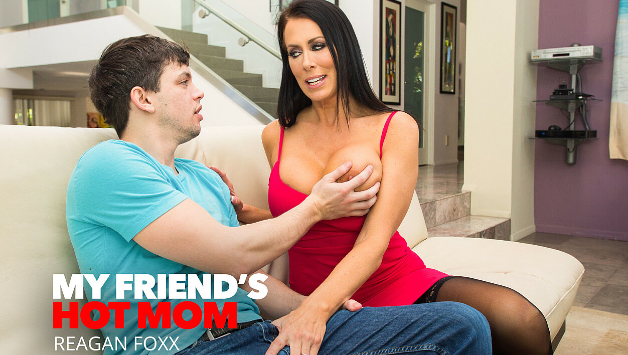 Reagan Foxx shows her sons friend how to take care of a woman
