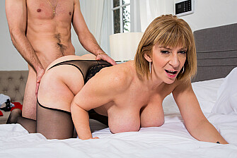 Sara's big tits attract her son's best friend - Blowjob