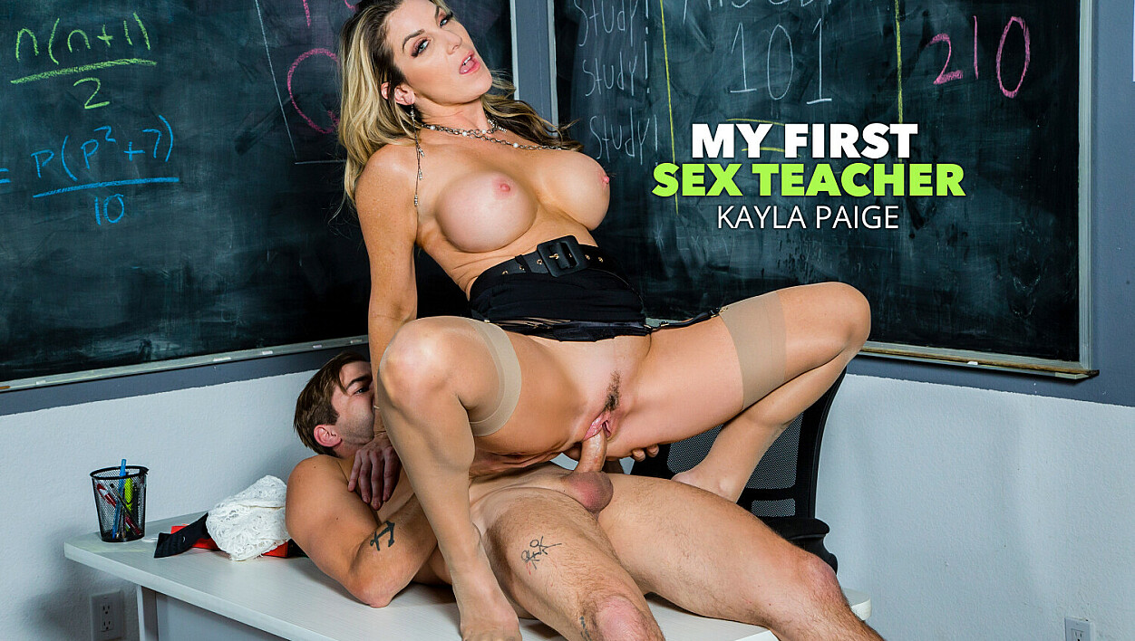 Ms. Kayla Paige is ready to ride her student's Cock!