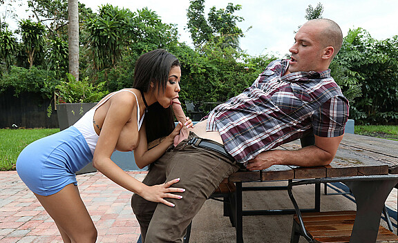 Shay Evans fucking in the outdoors with her big tits - Sex Position #2