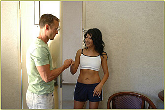 Shaved Maria Ray fucking in the hotel with her small tits - Sex Position 1