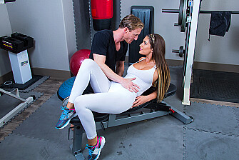 August Ames fucking in the gym with her piercings - Sex Position 1