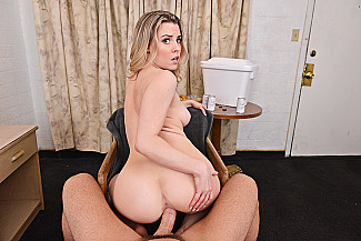 Aubrey Sinclair fucking in the chair with her petite - Sex Position 4