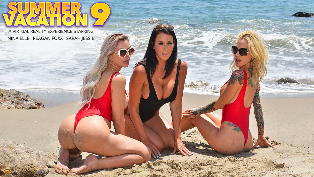 Three hot babes go to town on the lifeguard's dick