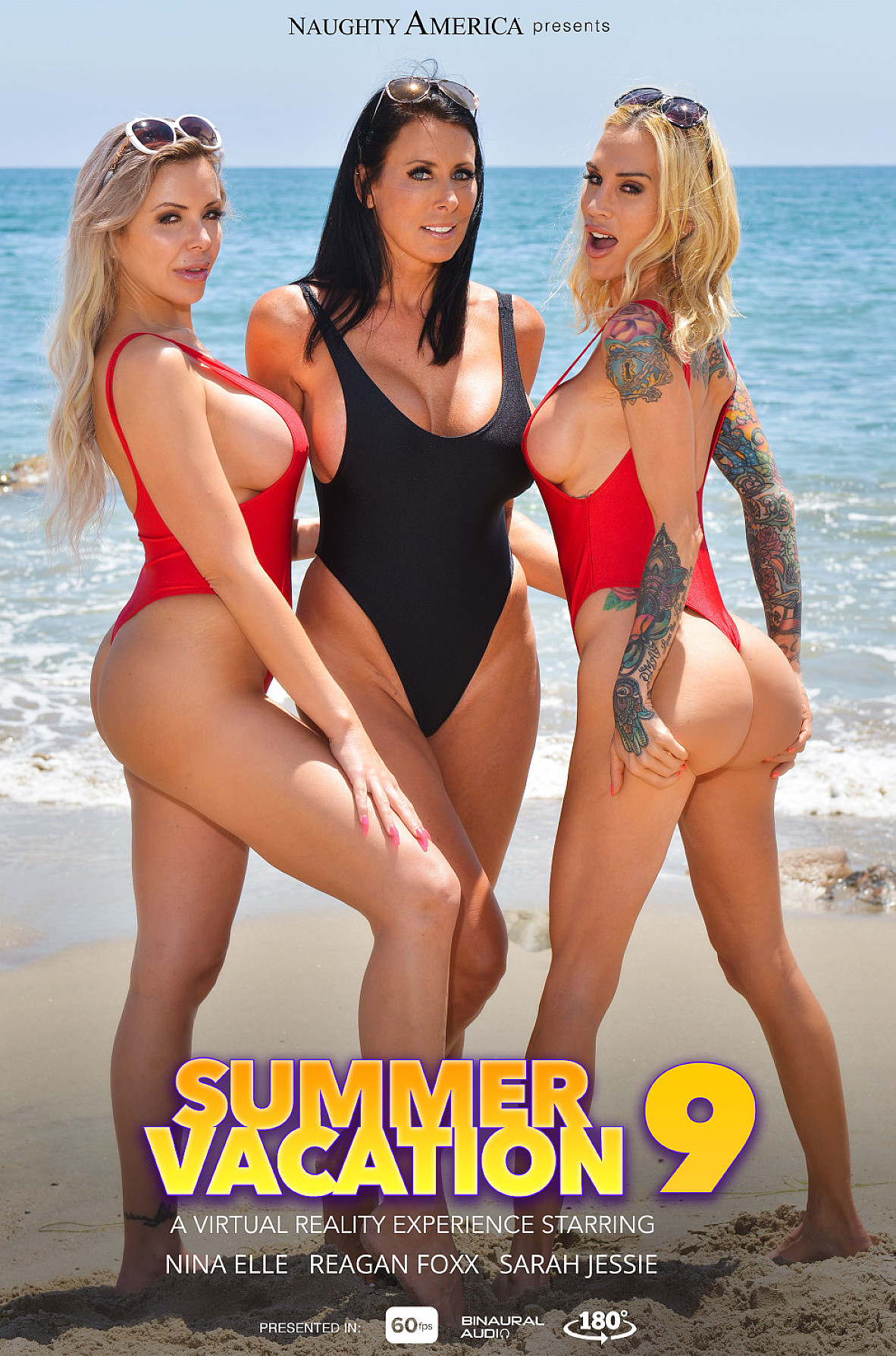 Watch Nina Elle, Reagan Foxx, Sarah Jessie and Justin Hunt VR video in Naughty America