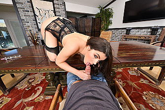 Valentina Nappi fucking in the table with her natural tits - Sex Position 1