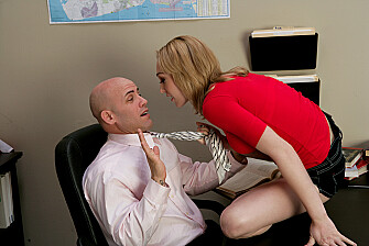 Blonde Lily LaBeau fucking in the desk with her natural tits - Sex Position 1