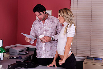Blonde Amy Brooke fucking in the office with her tattoos - Sex Position 1