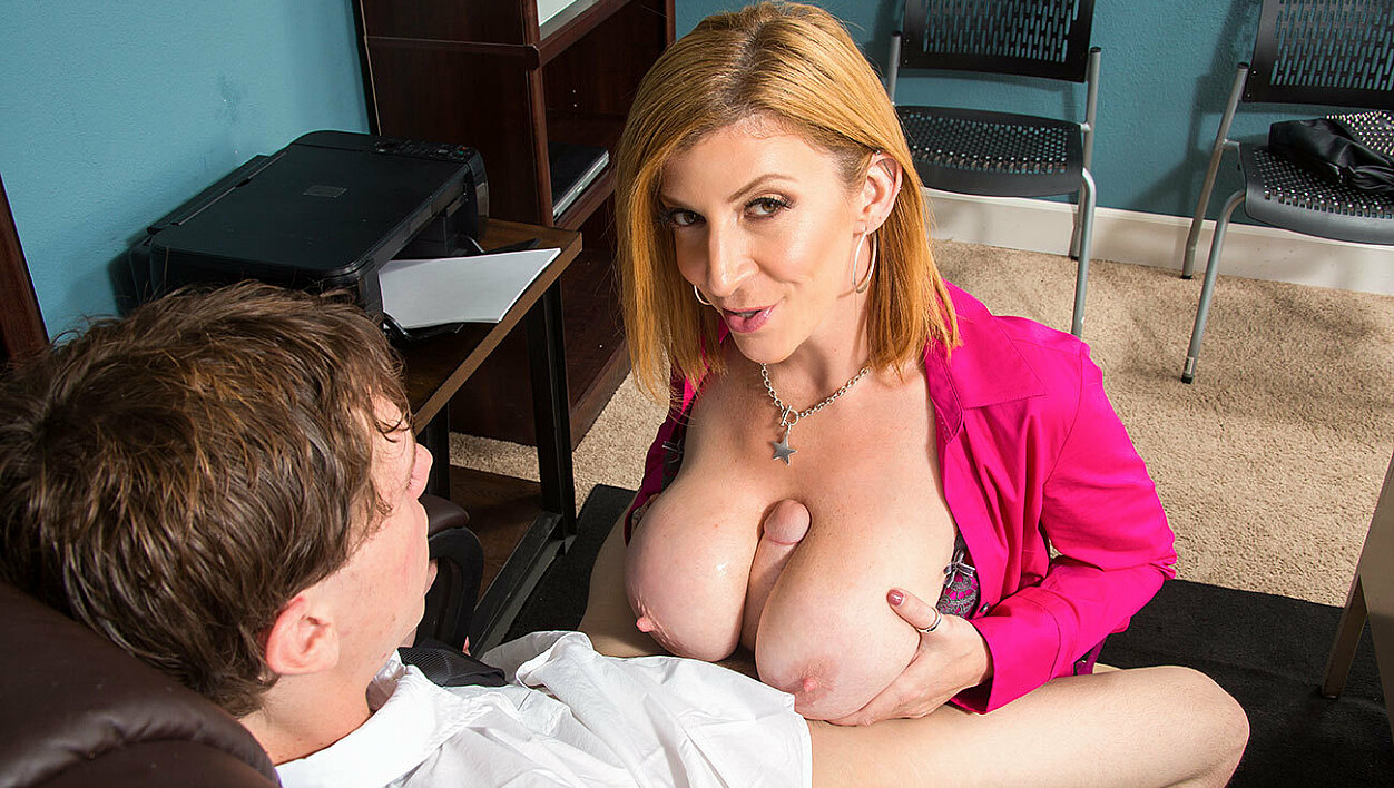 Sara Jay fucking in the chair with her big tits