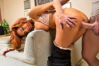 Cougar Veronica Avluv fucking in the couch with her tits - Sex Position 3