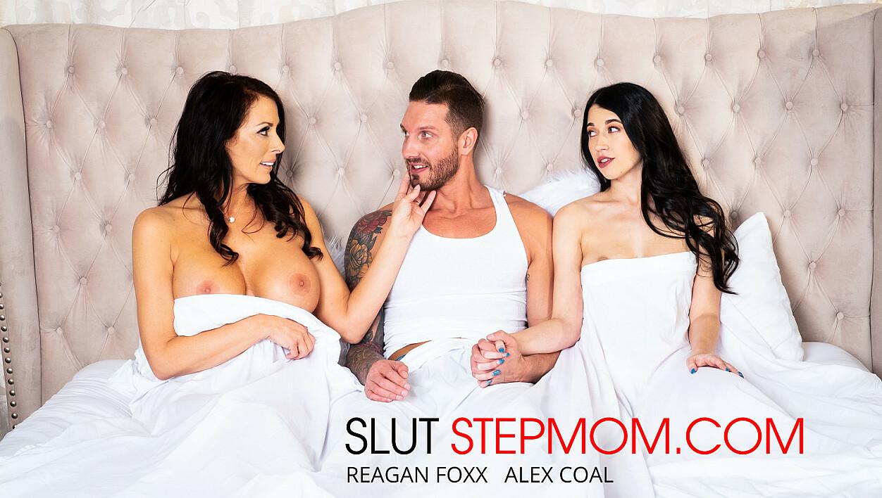 Alex Coal fucks her boyfriend with her Slutty stepmom Reagan Foxx