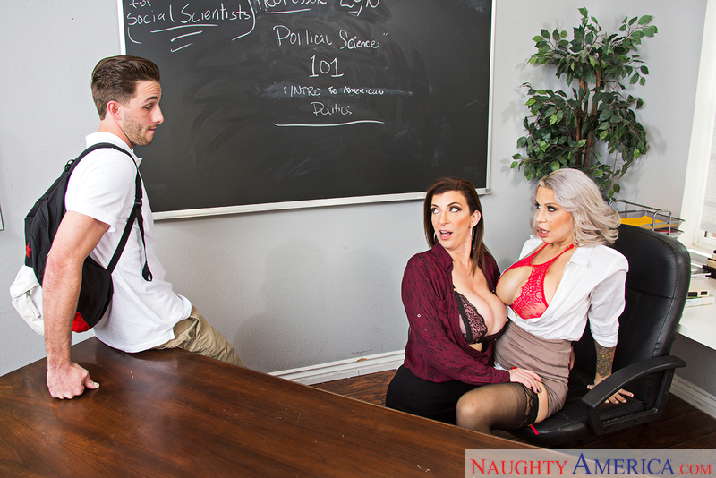 Teacher Alyssa Lynn fucking in the classroom with her tits - Sex Position 1