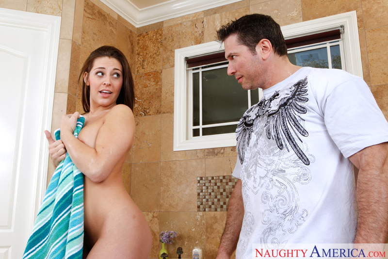 Gracie Glam fucking in the bathtub with her natural tits - Sex Position 1