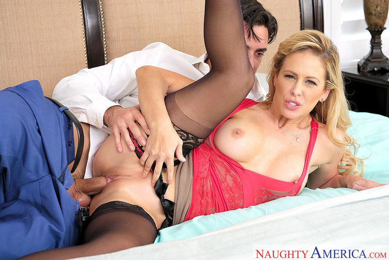Cherie DeVille fucking in the bedroom with her lingerie - Blowjob
