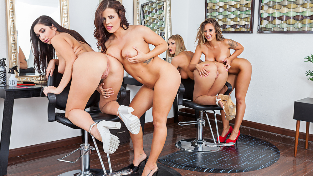 Naughty America Group Porn - Click here to play August Ames fucking in the salon with her bubble butt VR  porn